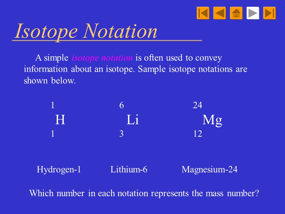 Isotope Notation A simple isotope notation is often used to convey information about an isotope. Sample isotope notations are shown below.