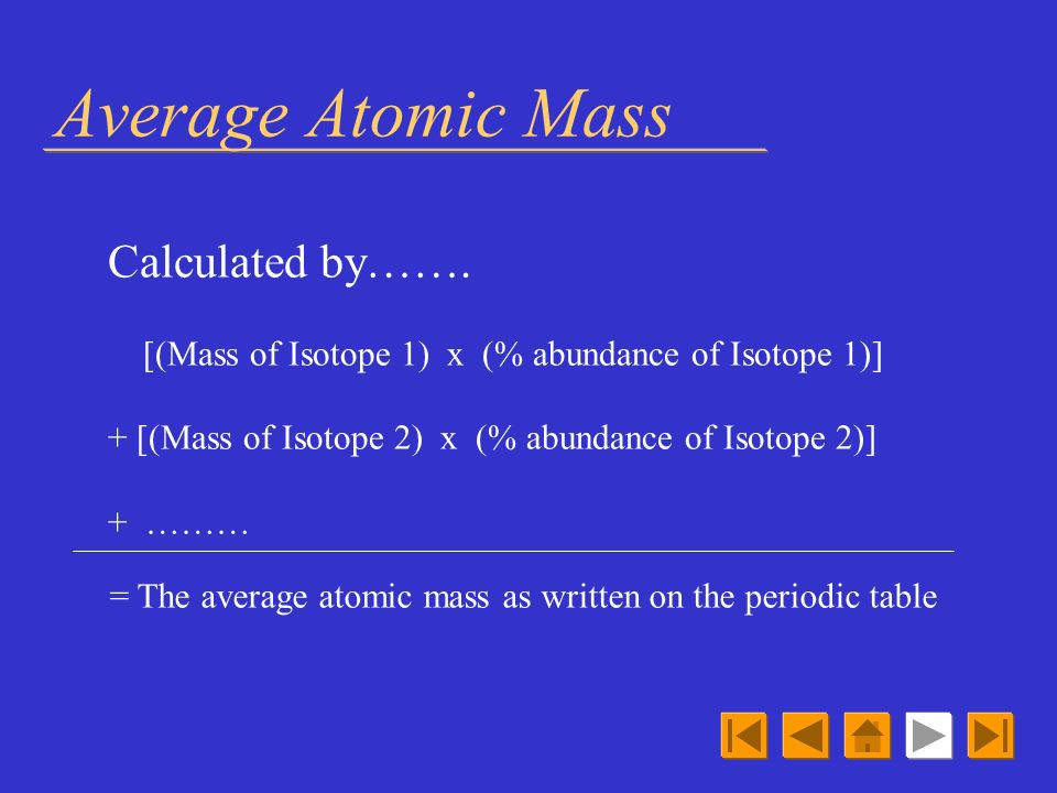 Average Atomic Mass Calculated by…….