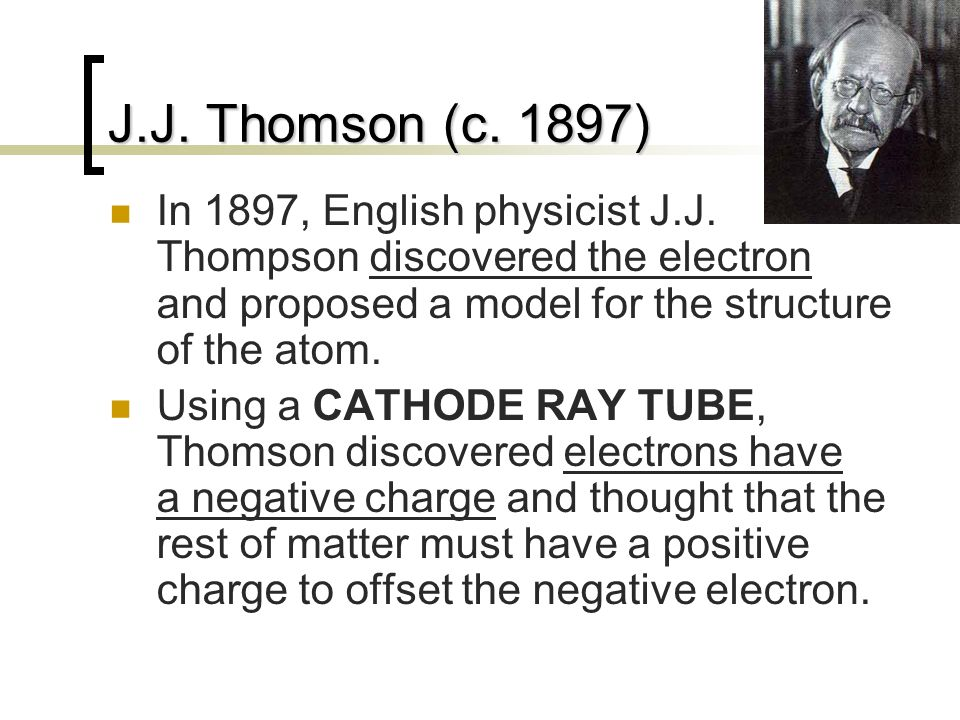 J.J. Thomson (c. 1897) In 1897, English physicist J.J. Thompson discovered the electron and proposed a model for the structure of the atom.