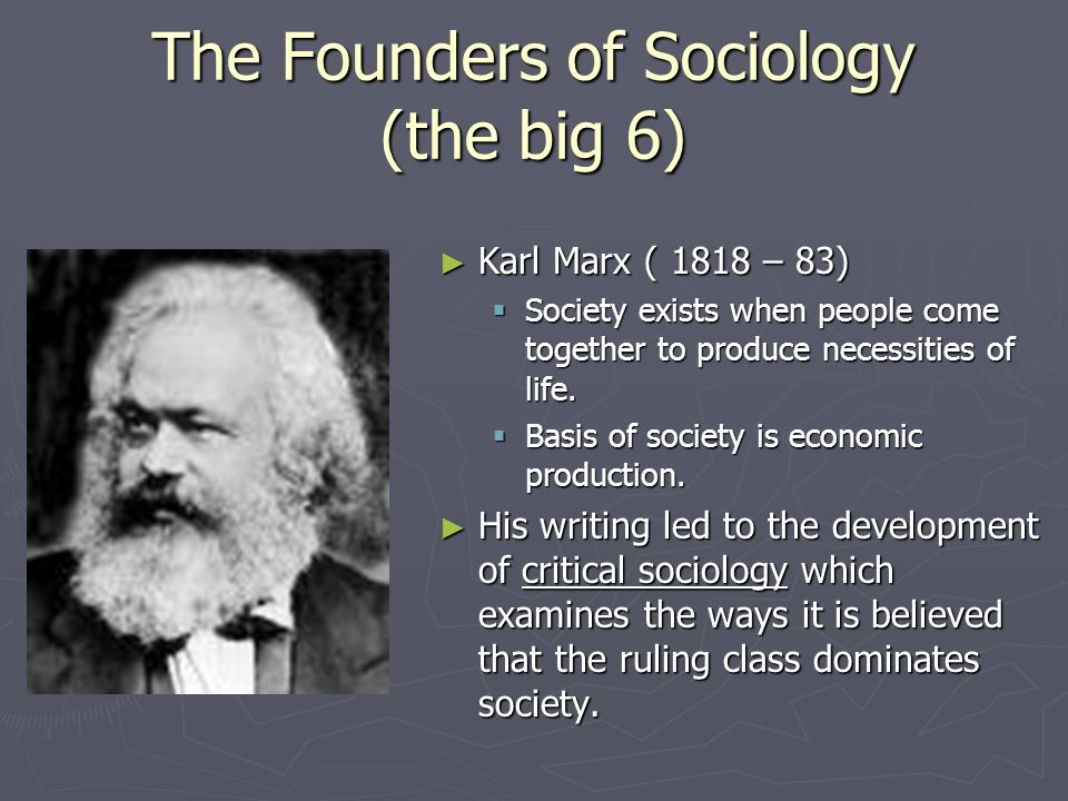 The Founders of Sociology (the big 6)