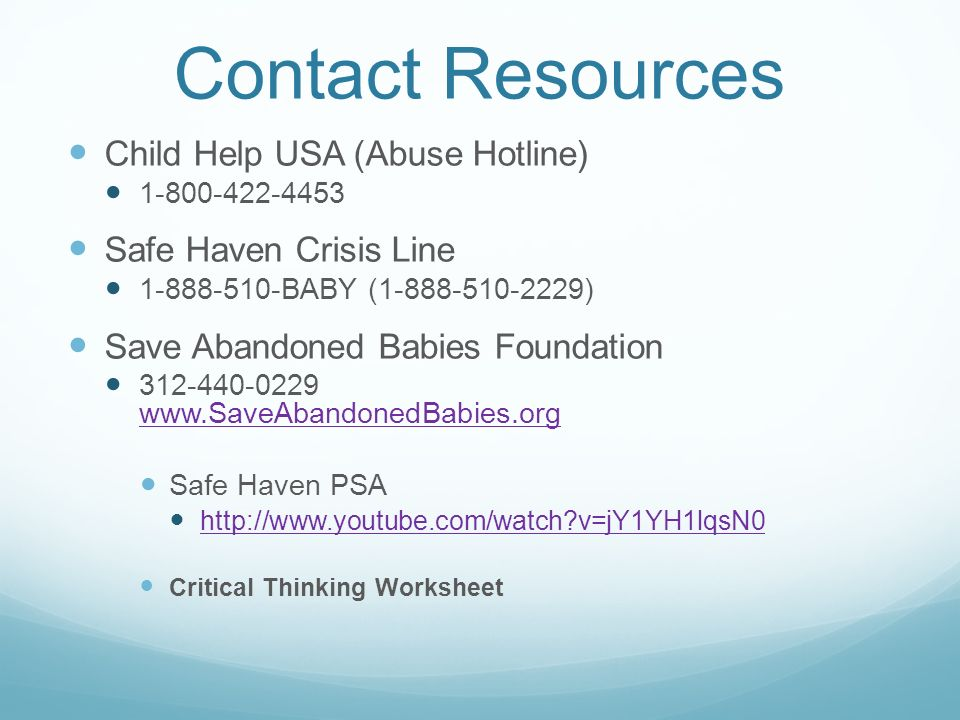 Contact Resources Child Help USA (Abuse Hotline)