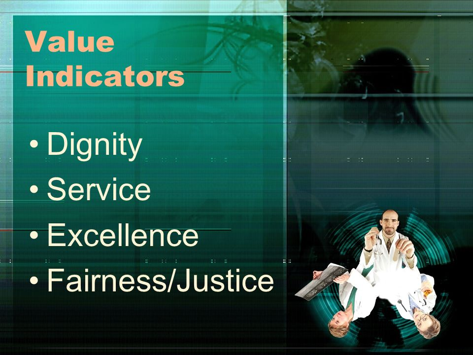Value Indicators Dignity Service Excellence Fairness/Justice
