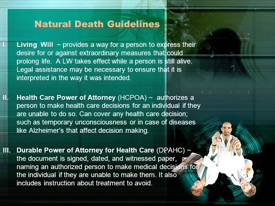 Natural Death Guidelines