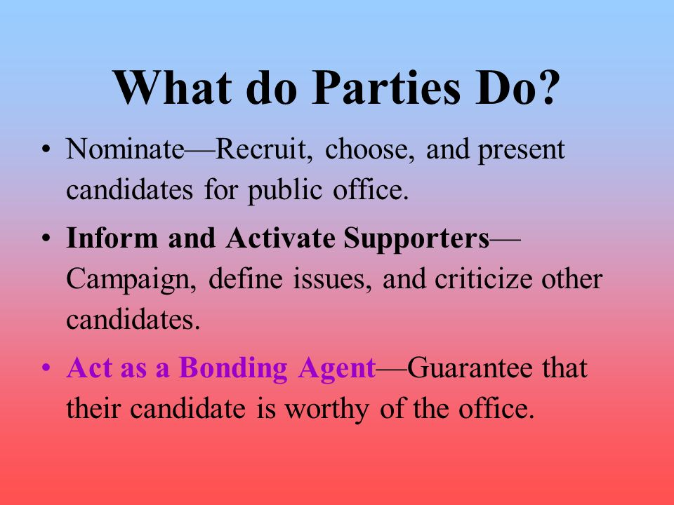 What do Parties Do Nominate—Recruit, choose, and present candidates for public office.