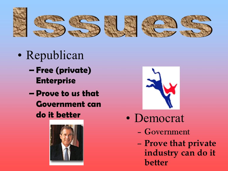Republican Democrat Issues Free (private) Enterprise