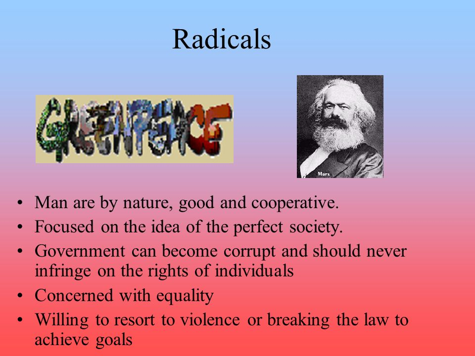 Radicals Man are by nature, good and cooperative.