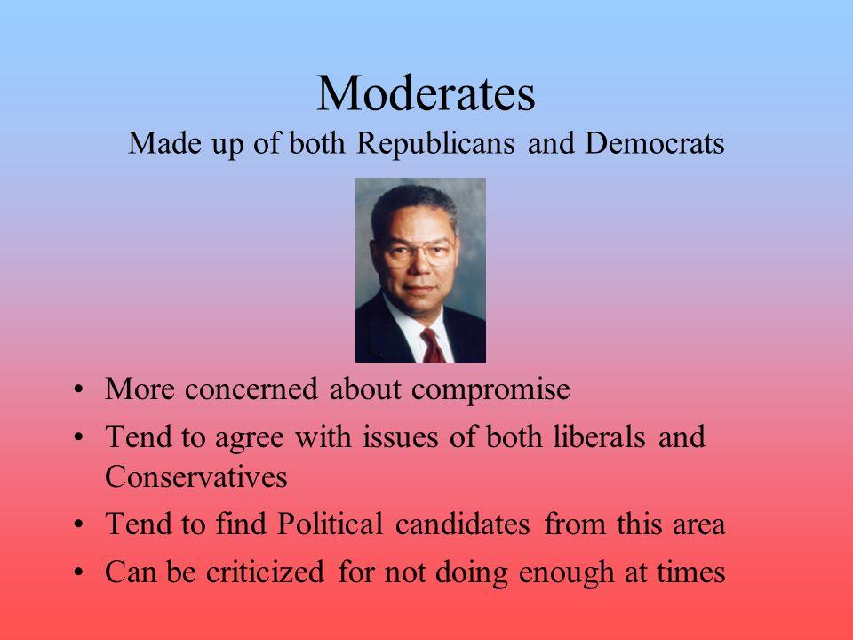 Moderates Made up of both Republicans and Democrats