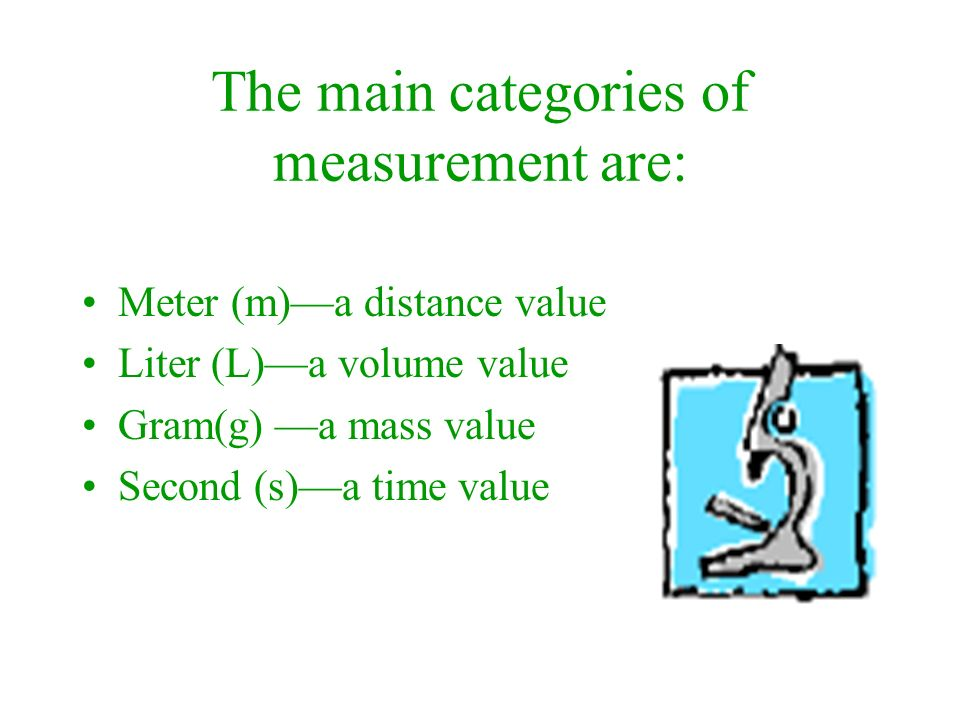 The main categories of measurement are: