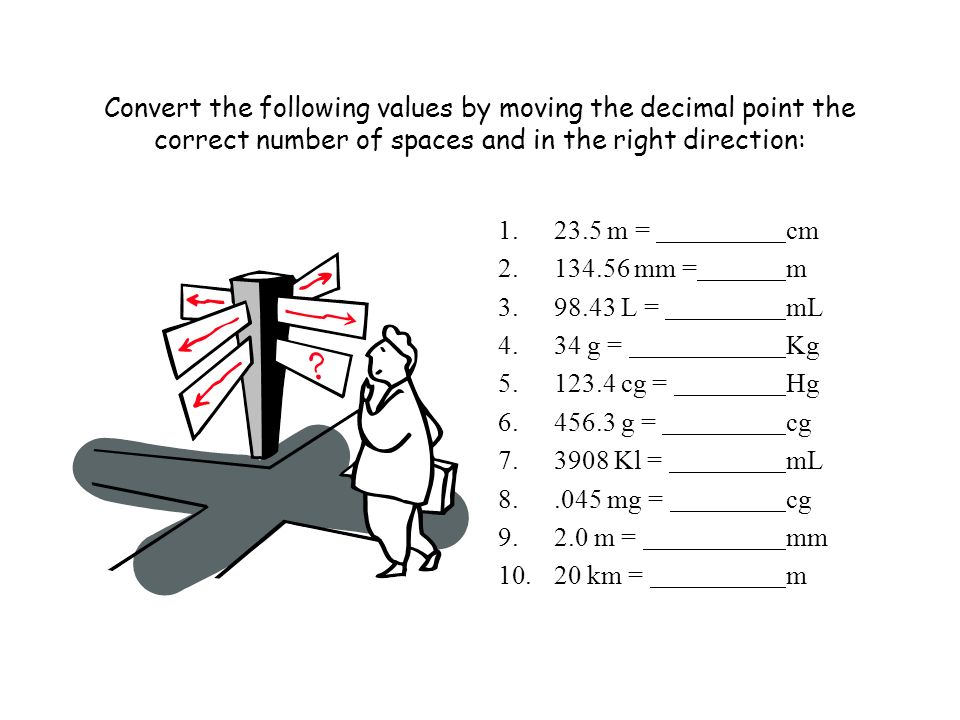 Convert the following values by moving the decimal point the correct number of spaces and in the right direction: