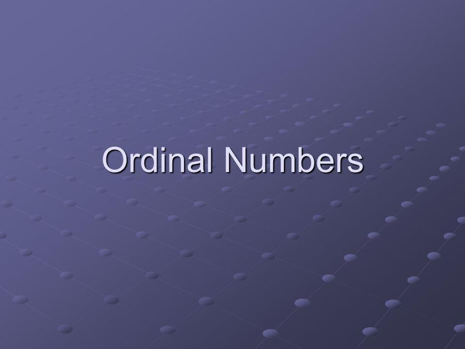 Ordinal Numbers