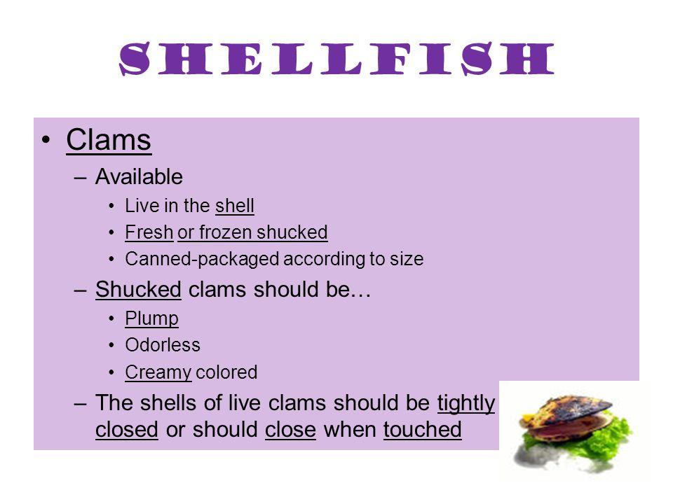 Shellfish Clams Available Shucked clams should be…