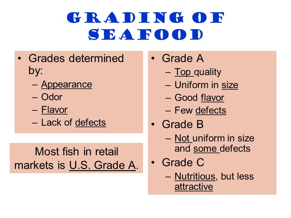 Most fish in retail markets is U.S. Grade A.
