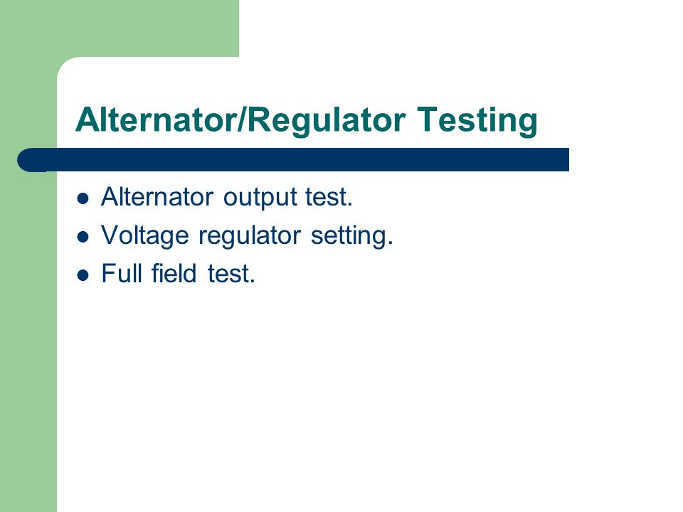 Alternator/Regulator Testing