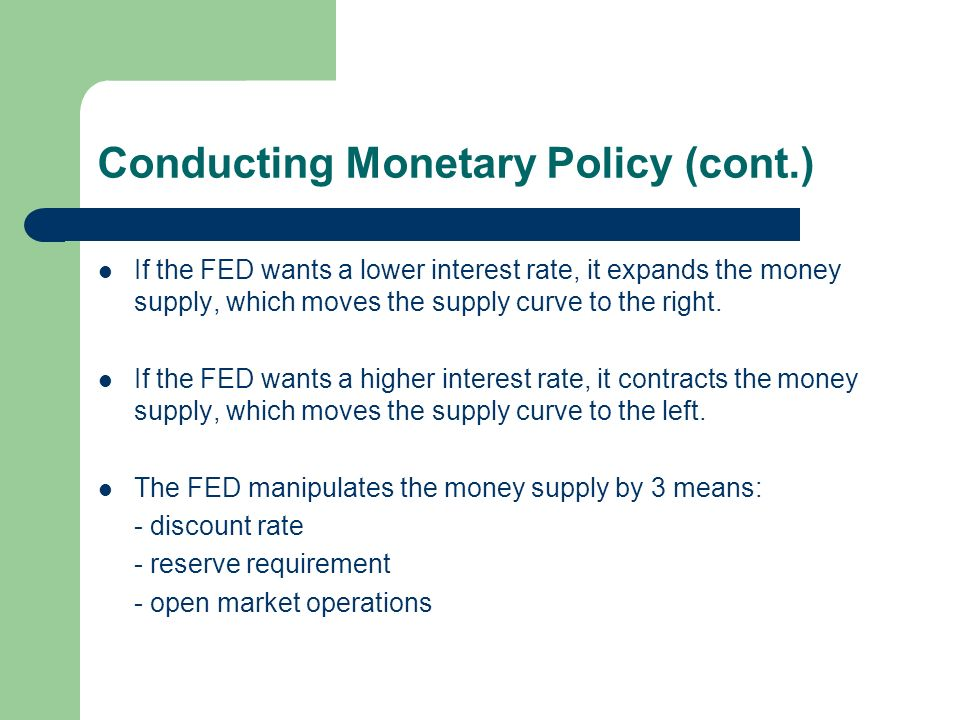 Conducting Monetary Policy (cont.)