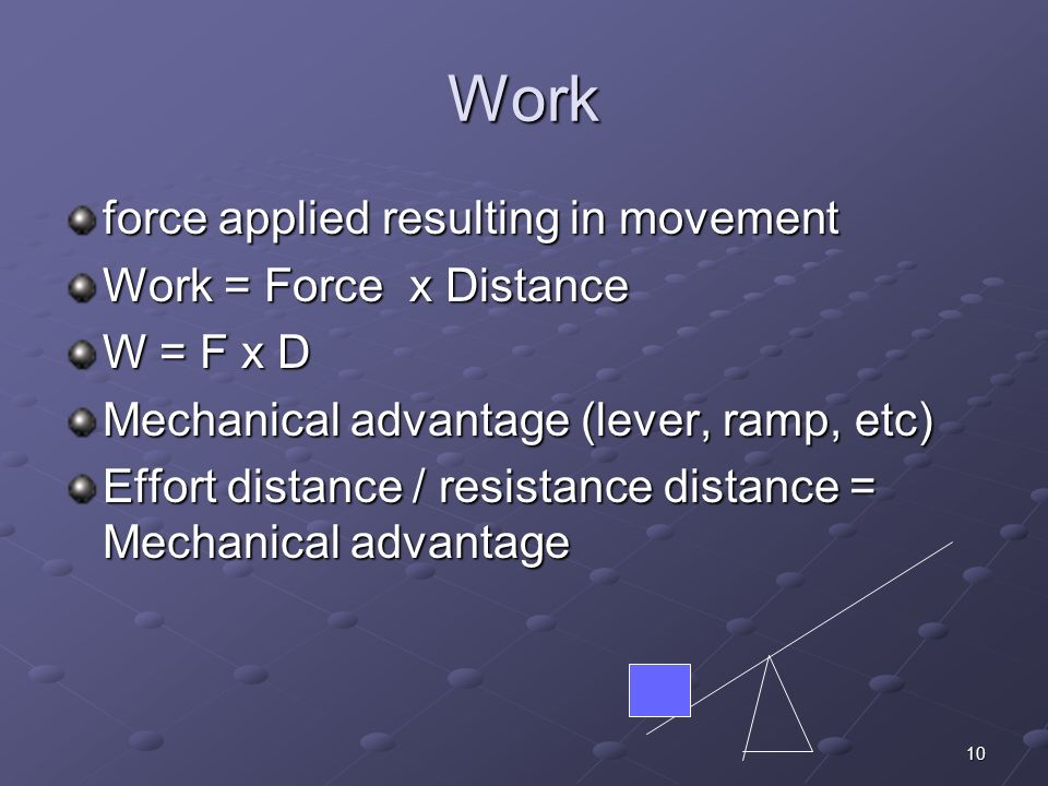 Work force applied resulting in movement Work = Force x Distance