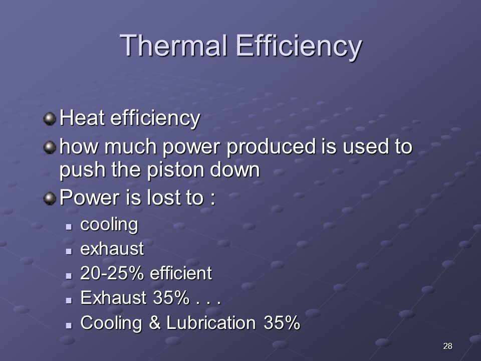 Thermal Efficiency Heat efficiency