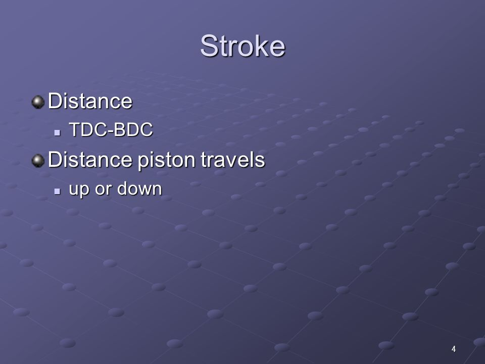 Stroke Distance TDC-BDC Distance piston travels up or down
