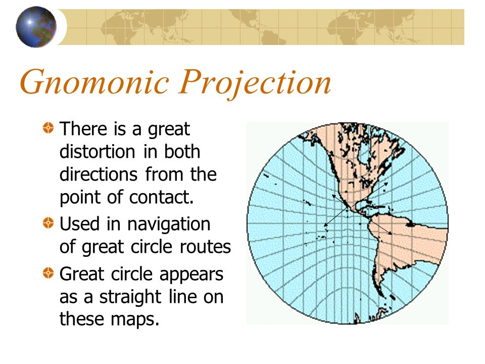 Gnomonic Projection There is a great distortion in both directions from the point of contact. Used in navigation of great circle routes.