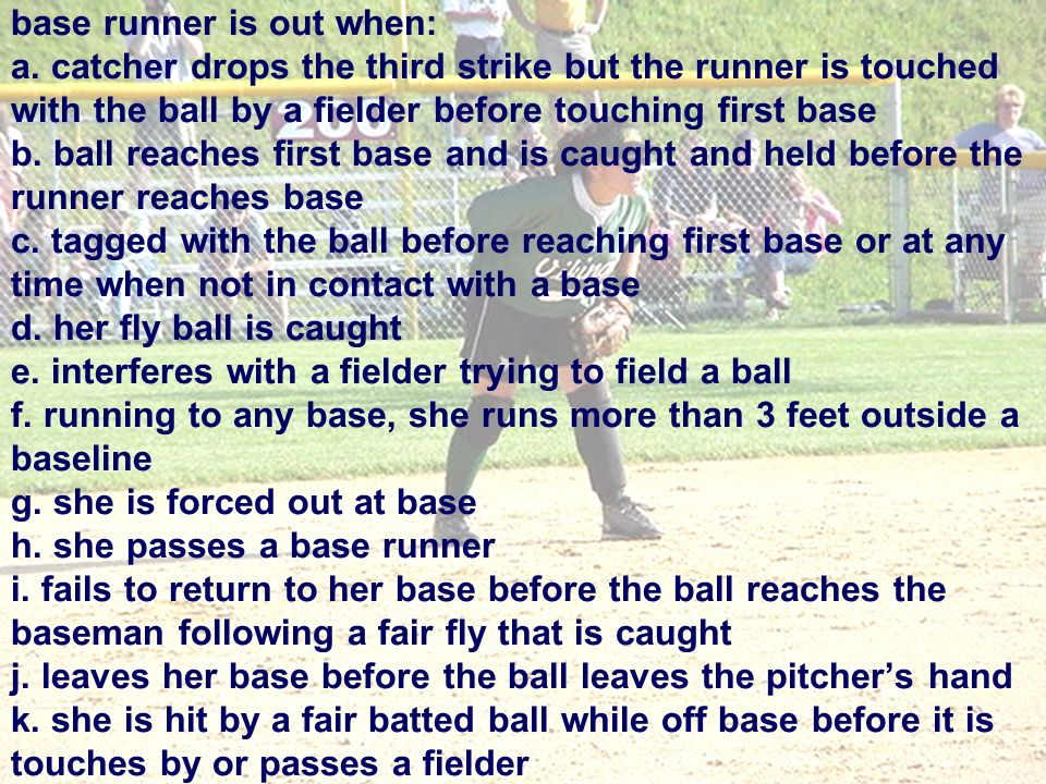 base runner is out when: a