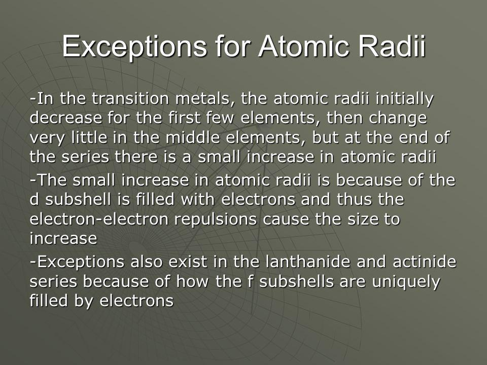 Exceptions for Atomic Radii