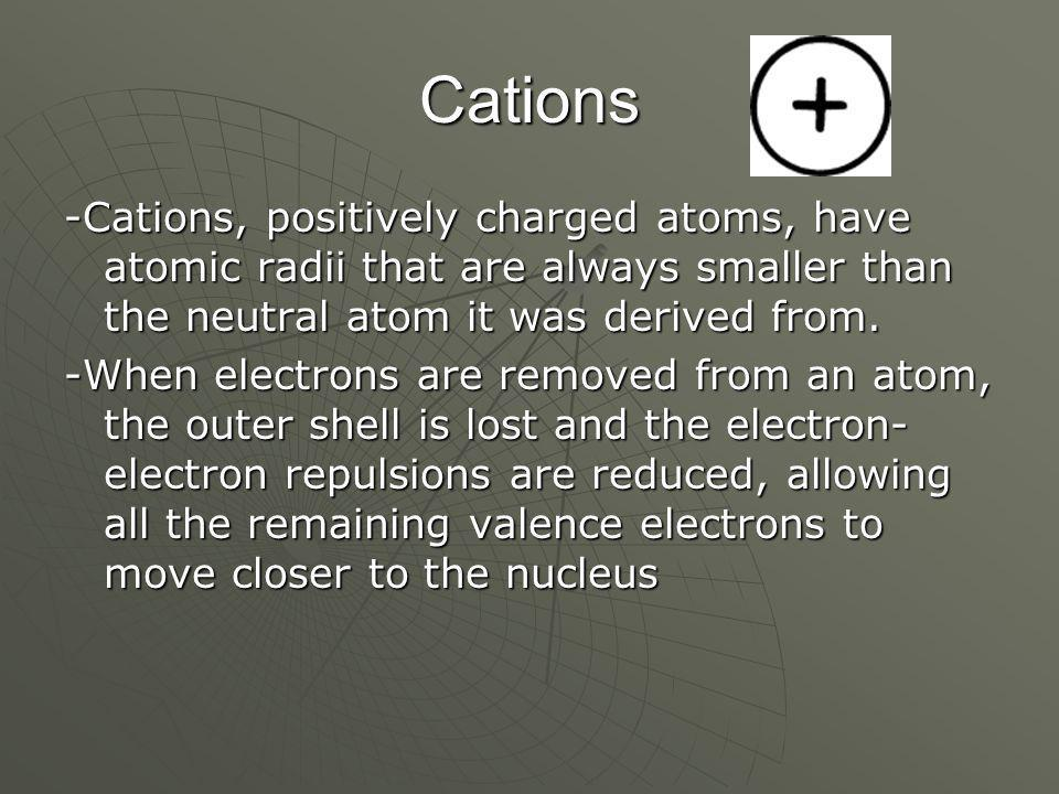 Cations -Cations, positively charged atoms, have atomic radii that are always smaller than the neutral atom it was derived from.