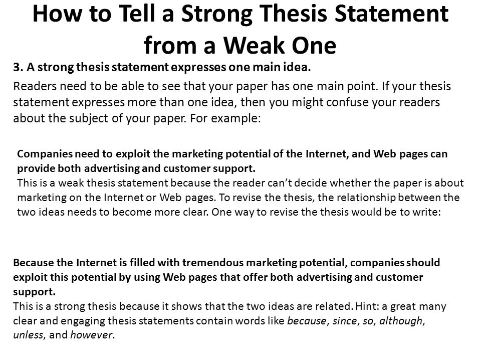 identifying strong and weak thesis statements