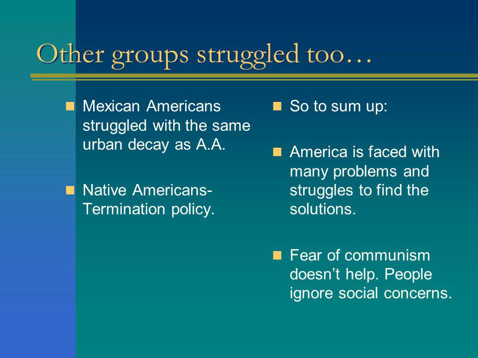Other groups struggled too…