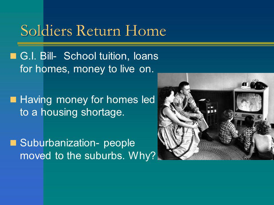 Soldiers Return Home G.I. Bill- School tuition, loans for homes, money to live on. Having money for homes led to a housing shortage.
