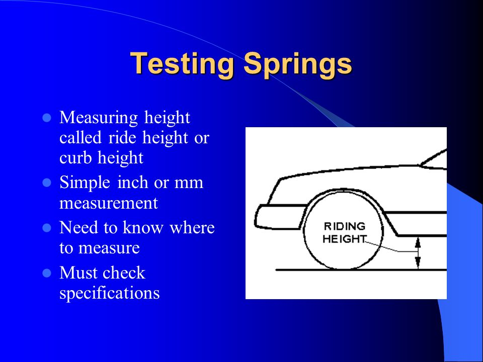 Testing Springs Measuring height called ride height or curb height