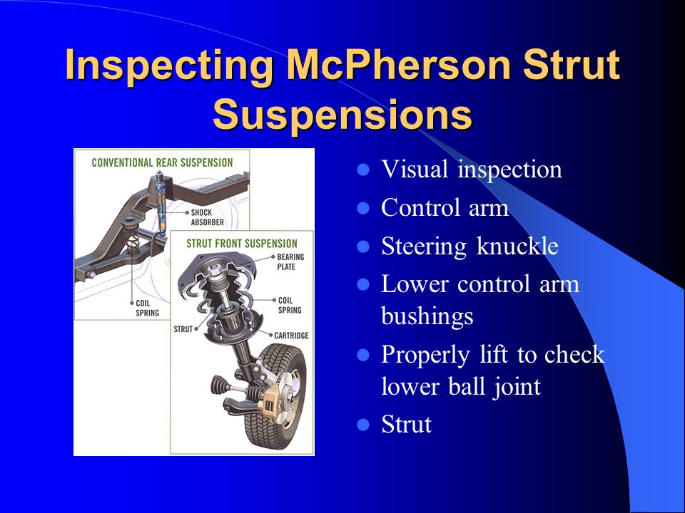 Inspecting McPherson Strut Suspensions