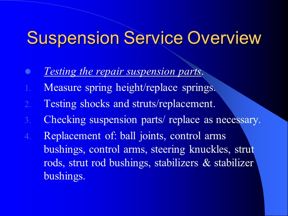 Suspension Service Overview