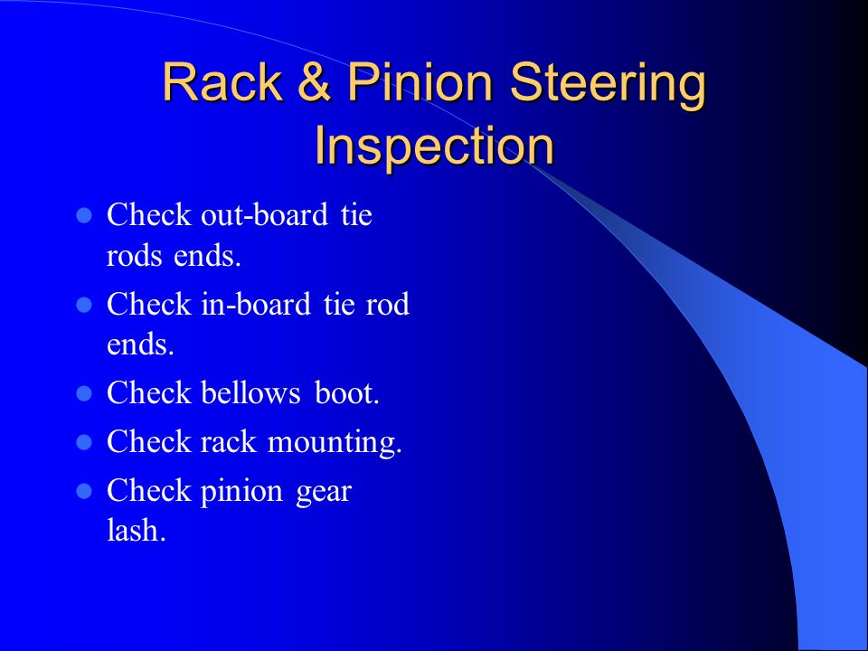 Rack & Pinion Steering Inspection