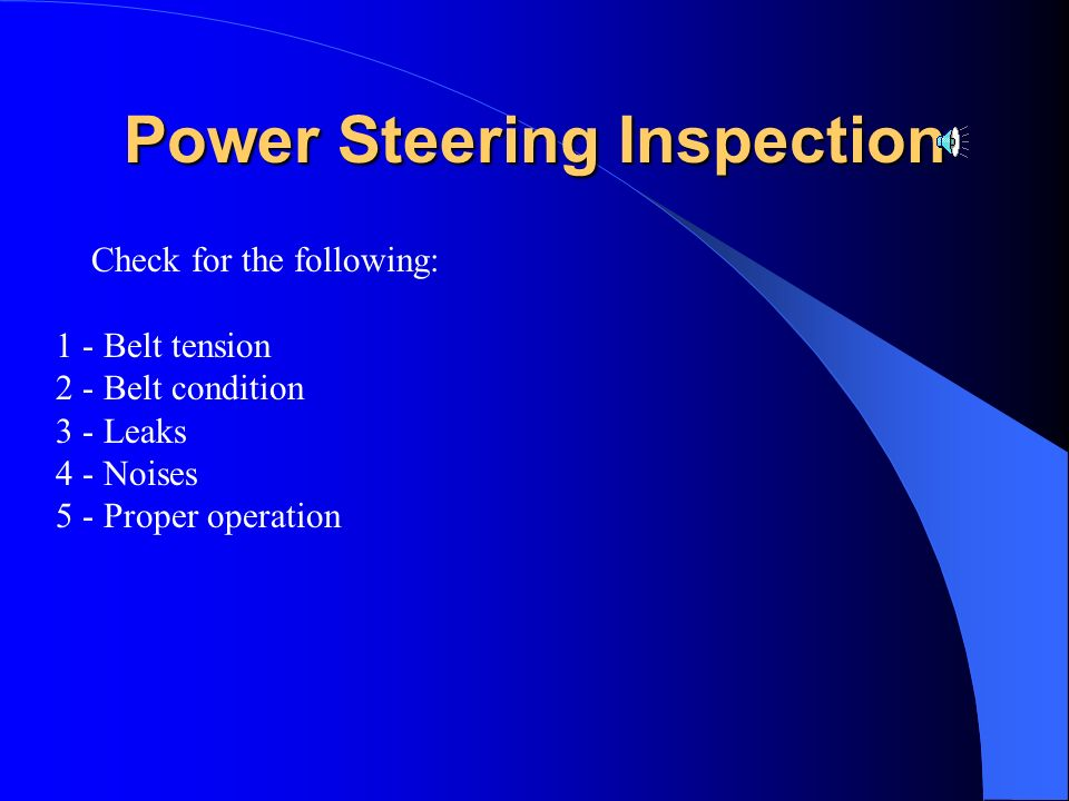 Power Steering Inspection