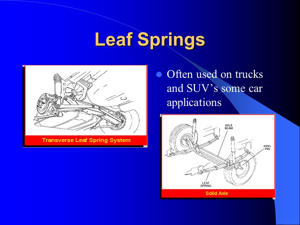 Leaf Springs Often used on trucks and SUV's some car applications