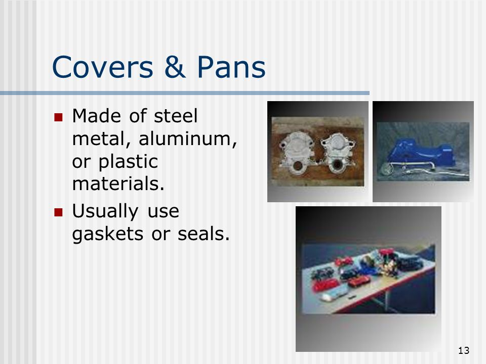 Covers & Pans Made of steel metal, aluminum, or plastic materials.