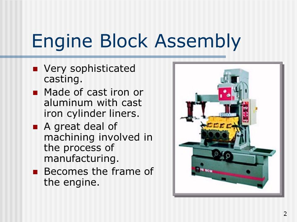 Engine Block Assembly Very sophisticated casting.