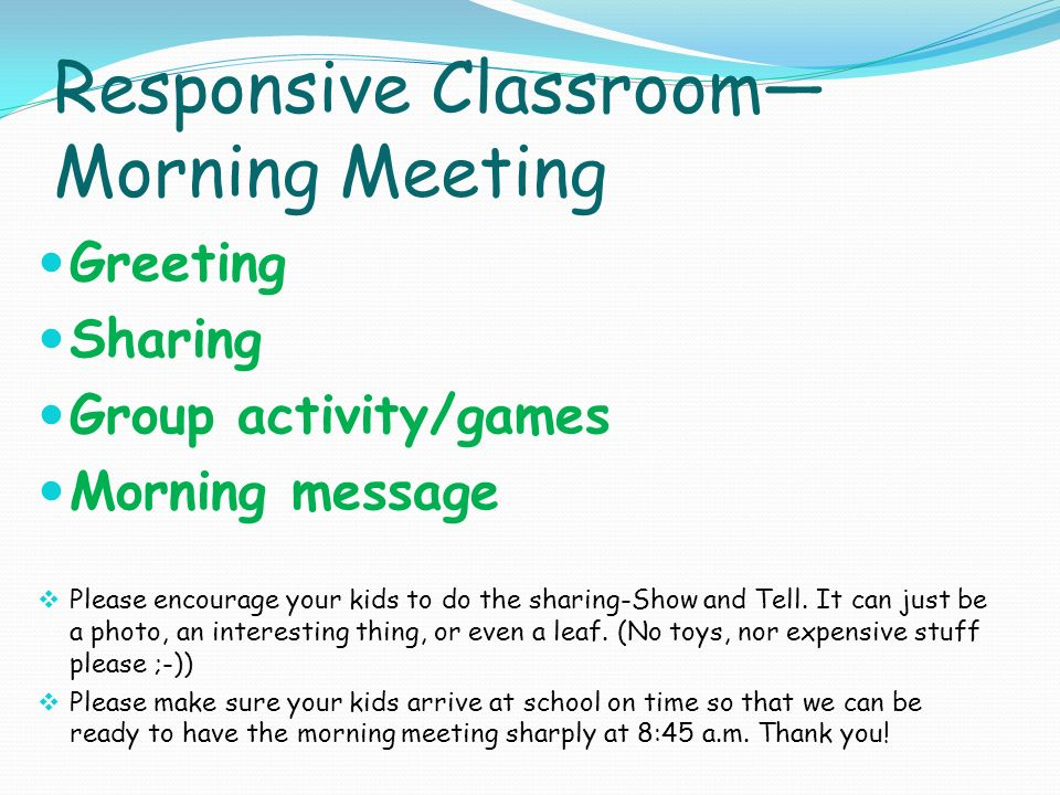 Responsive classroom morning meeting activities quotes morning meeting responsive classroom curriculum night welcome to 2c class ppt download m4hsunfo