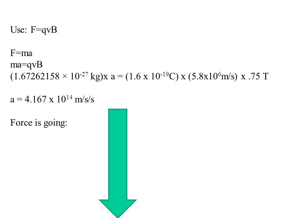 Use: F=qvB F=ma. ma=qvB. (1.67262158 × 10-27 kg)x a = (1.6 x 10-19C) x (5.8x106m/s) x .75 T. a = 4.167 x 1014 m/s/s.