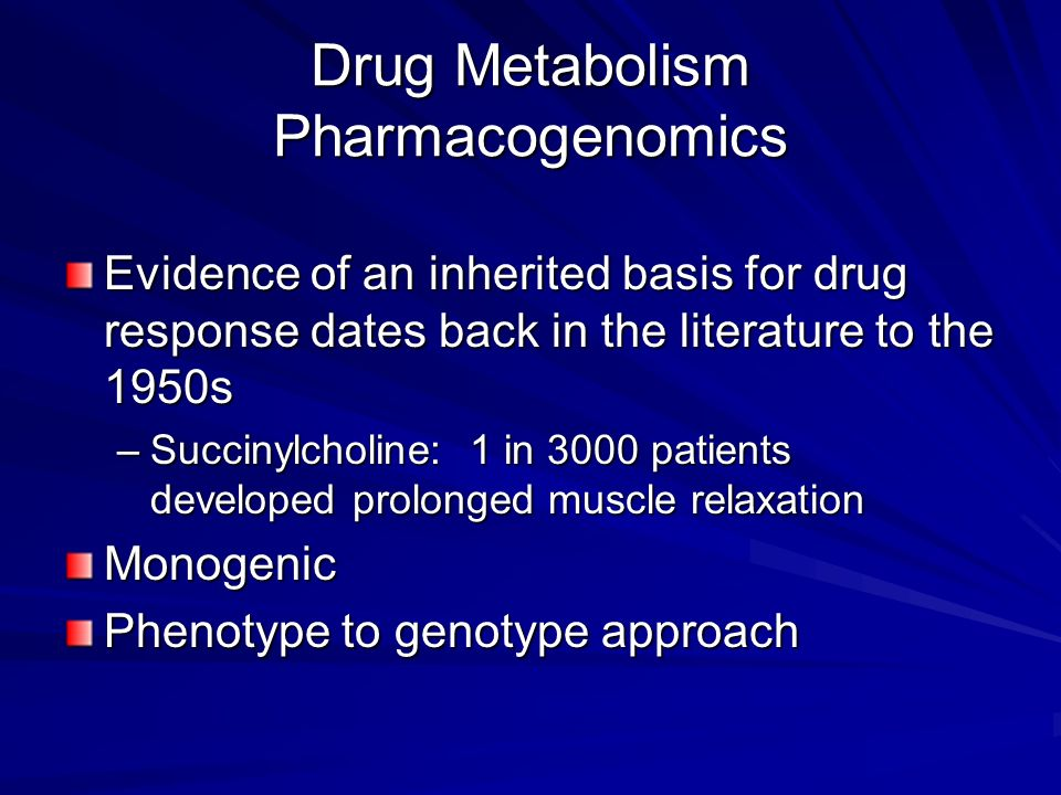Drug Metabolism Pharmacogenomics