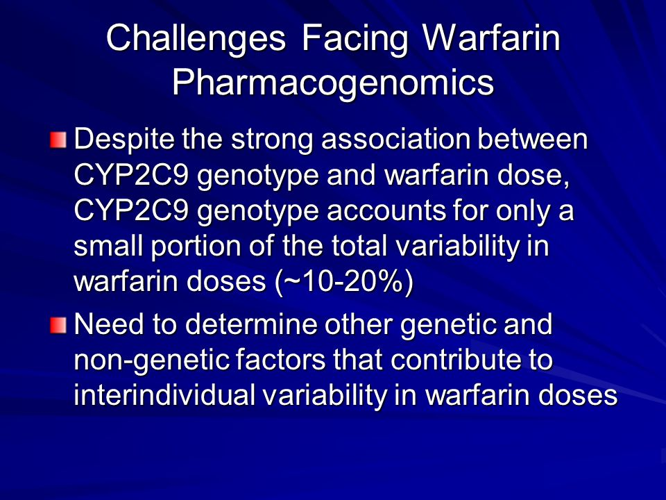 Challenges Facing Warfarin Pharmacogenomics