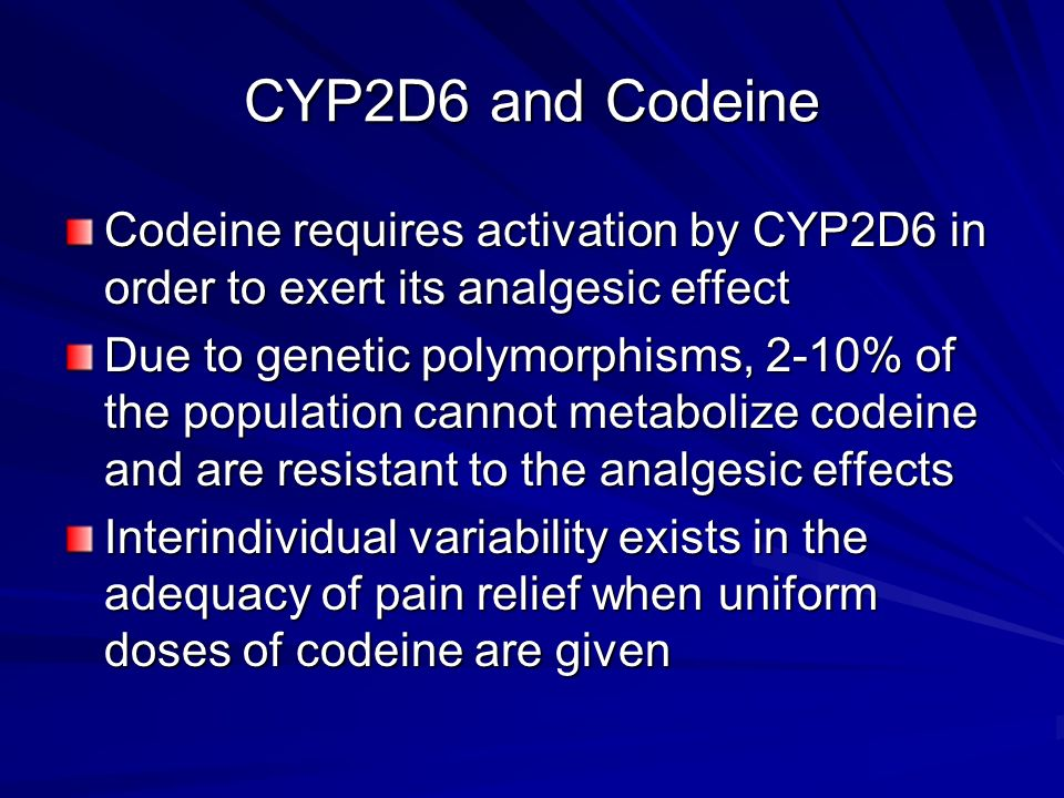 CYP2D6 and Codeine Codeine requires activation by CYP2D6 in order to exert its analgesic effect.