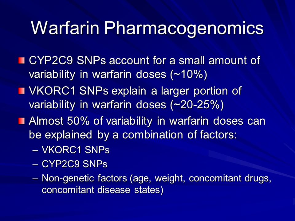 Warfarin Pharmacogenomics