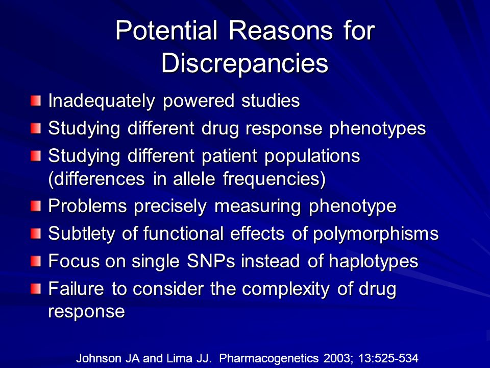 Potential Reasons for Discrepancies