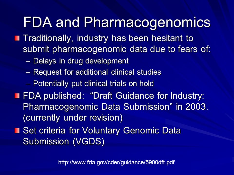 FDA and Pharmacogenomics