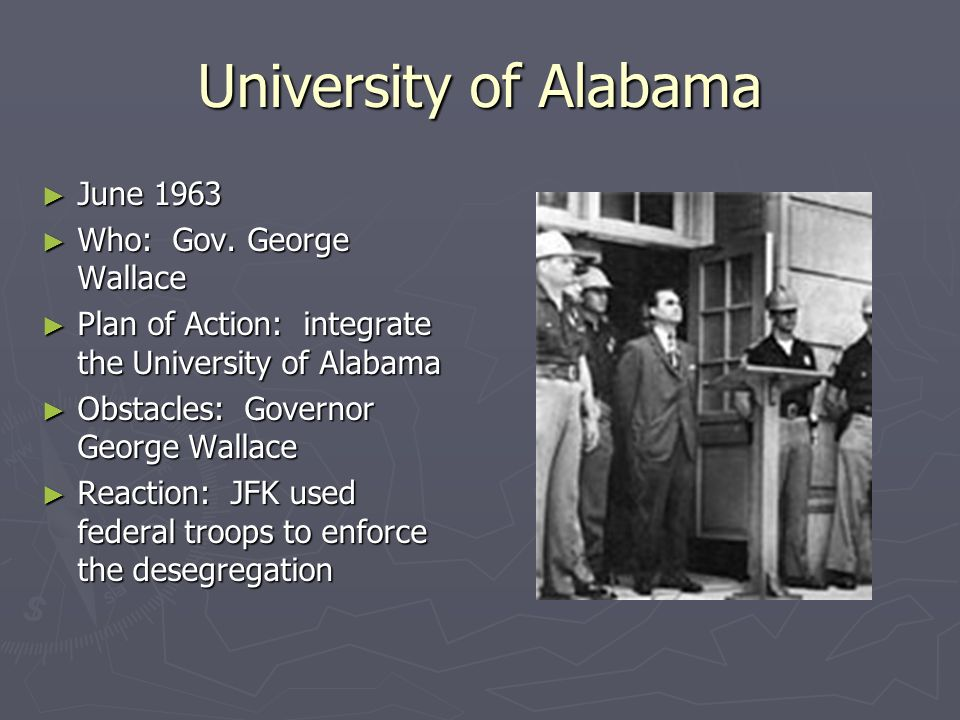 University of Alabama June 1963 Who: Gov. George Wallace