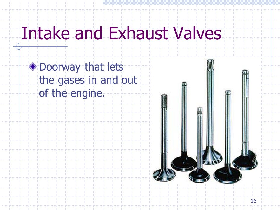 Intake and Exhaust Valves