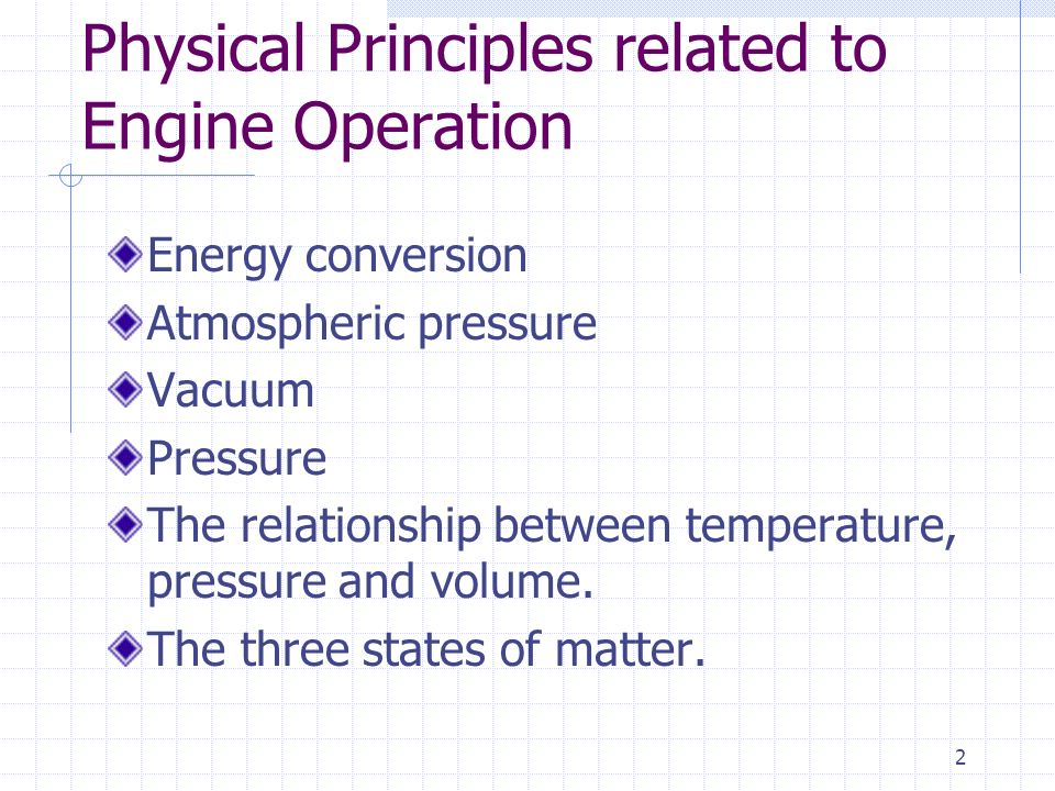Physical Principles related to Engine Operation