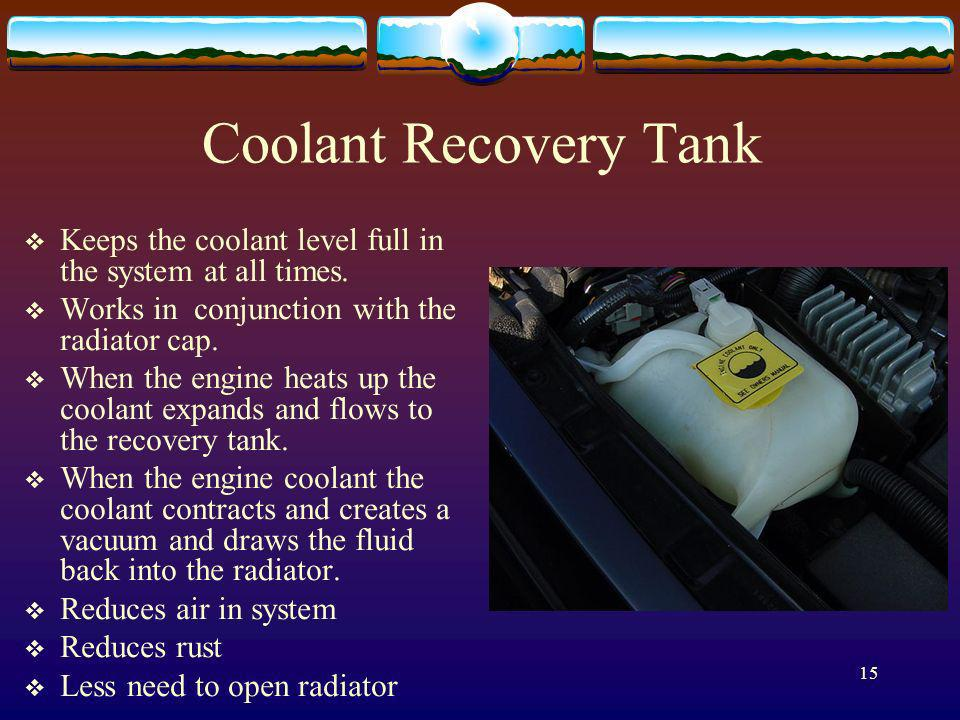 Coolant Recovery Tank Keeps the coolant level full in the system at all times. Works in conjunction with the radiator cap.