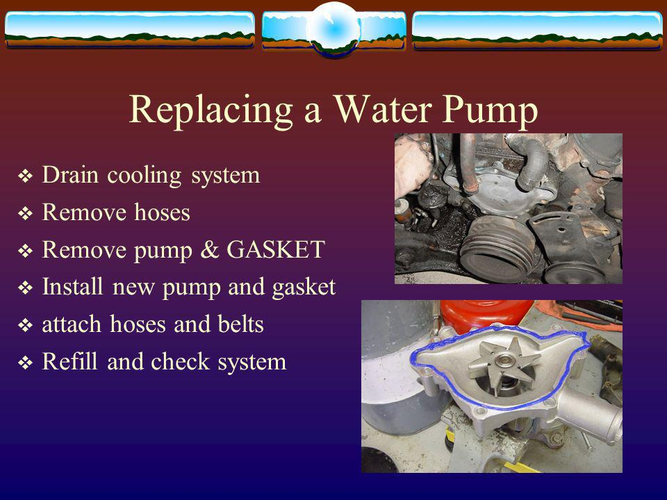 Replacing a Water Pump Drain cooling system Remove hoses