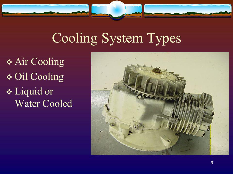 Cooling System Types Air Cooling Oil Cooling Liquid or Water Cooled